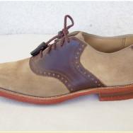 J&M Vintage Saddle Shoes  with Unusual Stacked Leather Heels